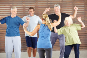 elderly group doing an exercise