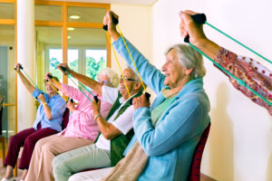 elderly group doing physical therapy